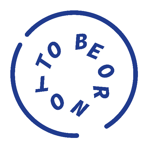logo to be or not to be blauwe cirkel met daarin de tekst
